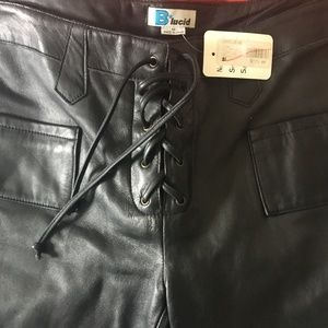 f397ba2ce9ceb B. Lucid · NWT B Lucid Sexy Lace Up Black Leather Pants MINT